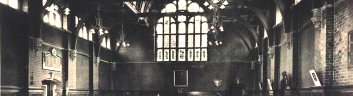 Black and White Postcard of the hall